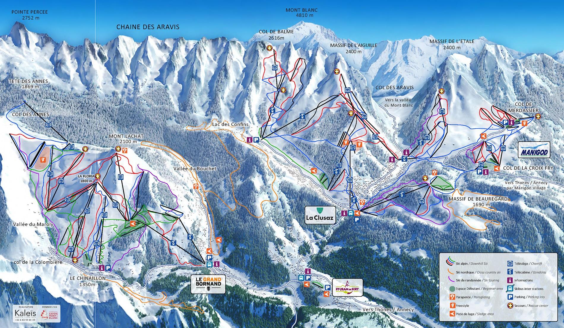 Plan des pistes du domaine skiable alpin Aravis