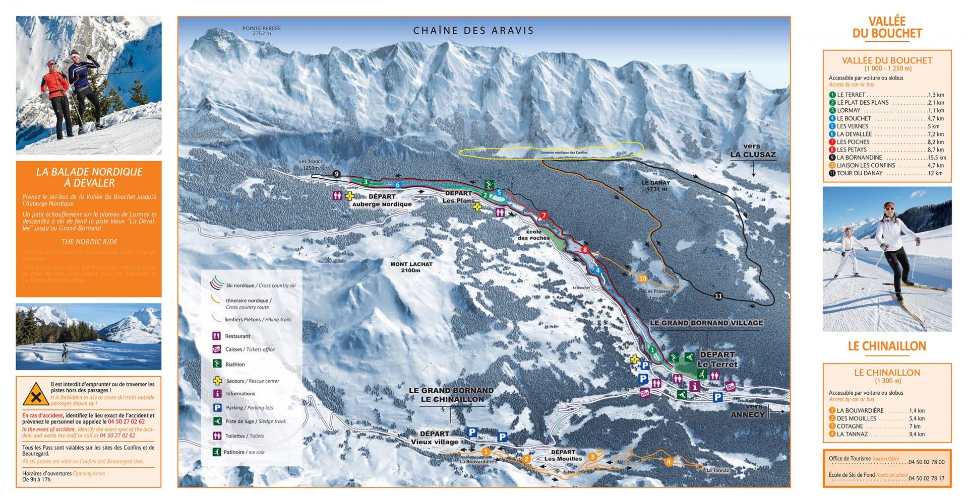 Plan des pistes du domaine skiable nordique du Massif des Aravis