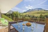 Terrasse avec salon de jardin été/Patio with garden furniture summer-Androsace n°2-Le Grand-Bornand