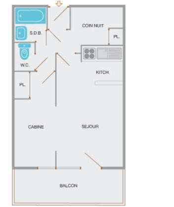appartement location yeti studio-cabine grand-bornand-village